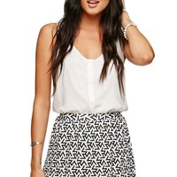 Lira Matrix Skater Skirt - Womens Skirt - White -