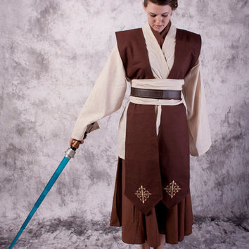 Female Star Wars Costume Tunic Skirt set jedi Halloween Custom made Cosplay