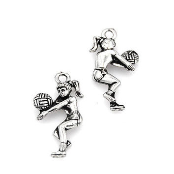 Volleyball Player Pewter Charm -1