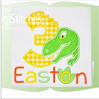 Dino Bite Birthday Applique shirt - Customizable -  Infant to Youth