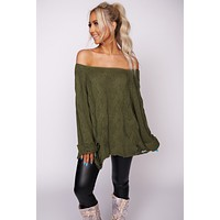 Whatever We'll Be Distressed Top (Olive)
