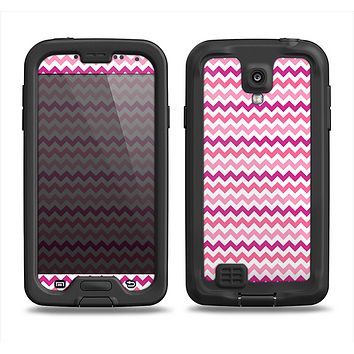 The Subtle Pinks and White Chevron Pattern Samsung Galaxy S4 LifeProof Fre Case Skin Set