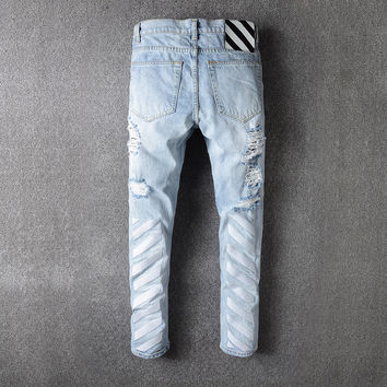 2017 High Quality Men Jeans Off White New Mens Wear Mill Wear Striped Denim Pants Men Jeans Jogger Pants Silm Hole Trousers