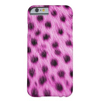 Hot Pink Spotted Cheetah Fur Look Barely There iPhone 6 Case
