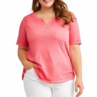 Terra & Sky Pink  Plus 4X  Split V-Neck Shirt Tee