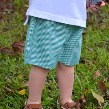SALE Personalized Green Gingham Boys Shorts  - Easter - Monogrammed - Sunday Clothes