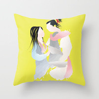 Disney - Mulan And Shang Throw Pillow by Jessica Slater Design & Illustration