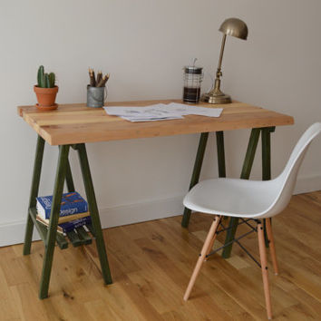 Reclaimed Wood Desk with A Frame Legs - Natural top with Forrest Green Legs || Free Shipping || Baltimore, Recycle
