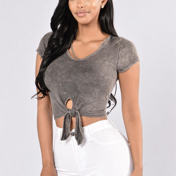 Closing Time Crop Top - Charcoal