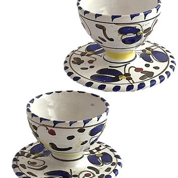 Hand Painted Egg Cups with Saucer - Set of 2 - Vintage, Breakfast, Kitchen, Home Decor, Made in Italy