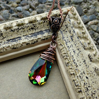 Copper necklace, Swarovski green crystal, crystal passions, teardrop pendant.