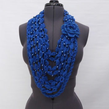 Crochet Woman Transformer Cashmere Scarf  Royal blue with Pearl glass beads  - Free Shipping ETSY