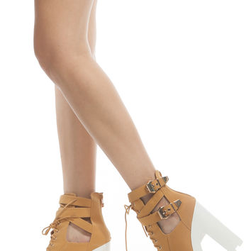 Camel Faux Nubuck Lace Up Lug Sole Booties