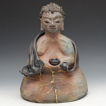 Medicine Buddha Statue - a sculpture in raku clay ceramics by Golden Wind Raku
