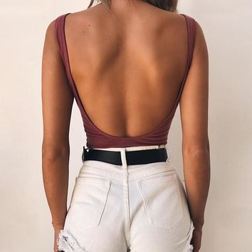 Women's Fashion Summer Hot Sale Sexy Backless Slim One-piece [747997790324]