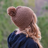 Mountainside Pom Beanie Rustic Brown Crochet Hat Women Winter Accessories Knit Christmas Gift For Her Handmade Toque Pom-Pom Accessory