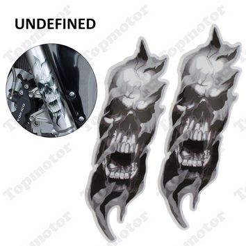 UNDEFINED Universal 1 Pair Motorcycle Bike Front Fork Skull Zombie Decals Graphic Stickers Moto for Kawasaki Honda Yamaha Harley