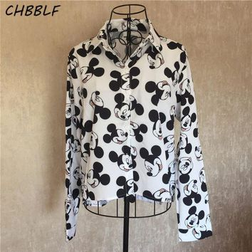 DCCKHG7 Spring New European Mickey Mouse Shirt Women Fashion Turn-down Collar Camisa Feminina Manga Comprida Blouse Shirt Xdz0922