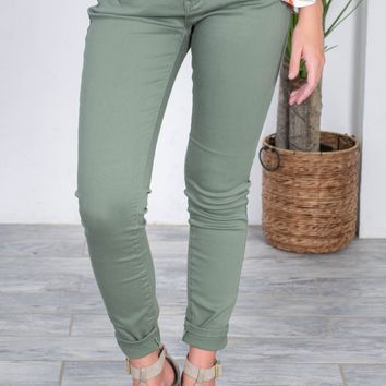 Olive Green Mid Rise Skinny Fit Denim