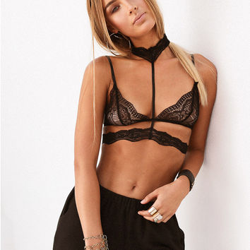 Black Cut Out Bra Designed Backless Lace Top