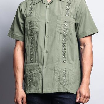 Men's Short Sleeve Cuban Style Guayabera Shirt 2000-1 (Light Olive)