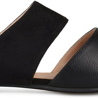 Womens Faux Suede Faux Leather Slip-On Mules