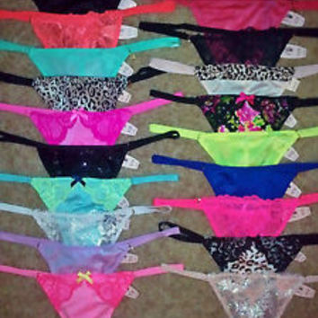 25 NWT Victoria's Secret One Size V-string Thong Panties~ALL different colors!!