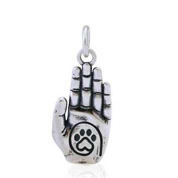 Sterling Silver A True Friend Reaches For Your Hand Heart Dog Paw Print Charm