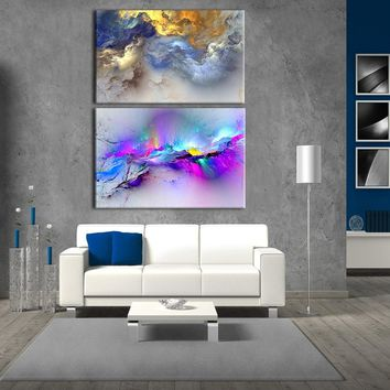 Abstract Art Canvas Wall art, Happy home On canvas, Original Art, Landscape Art, Abstract Painting printed no framed for bedside