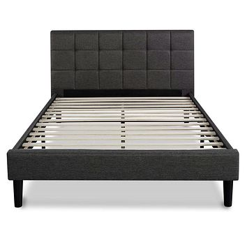 King size Dark Grey Upholstered Platform Bed with Headboard