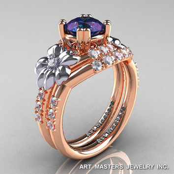 Nature Inspired 14K Rose Two-Tone White Gold 1.0 Ct Alexandrite Diamond Leaf and Vine Engagement Ring Wedding Band Set R245S-14KTTRWGDAL