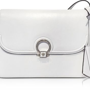 Versace White Leather DV One Flap Shoulder Bag w/Black Lateral Gussets