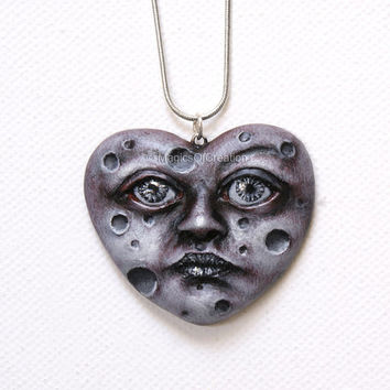 Love is moon: OOAK heart pendant completely handmade! One of a kind silver and gray heart pendant, original art jewelry