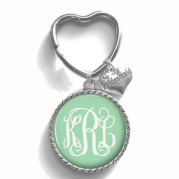 Bridesmaid Gift, Mint Monogram Key Chain, Personalized Keychain, Wedding Party Gift, Style 430