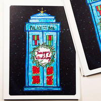 Doctor Who Christmas Cards (set of 12) dr. who tardis holiday cards