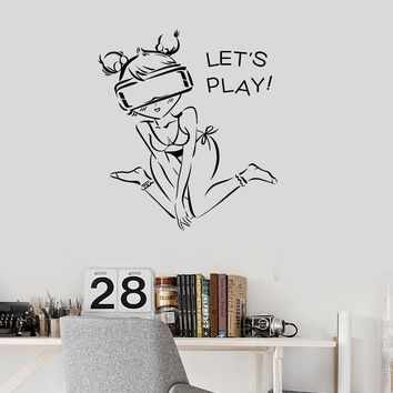 Vinyl Wall Decal Sexy Gamer Girl VR Headset Virtual Reality Decor Stickers Mural (ig5663)
