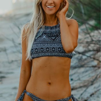 Aztec Tie Swim Bottoms Black/ Multi