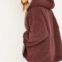 Ecote Reversible Wine Teddy Jacket - Urban Outfitters
