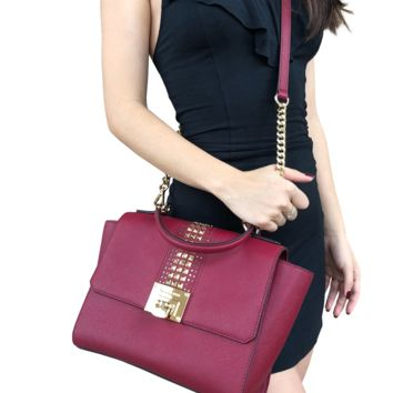 Michael Kors Tina Studded East West Satchel Bag Flap Crossbody Cherry Red