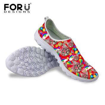 FORUDESIGNS Summer Casual Mesh Flat Shoes, Cute 3D Cat Themed Shoes