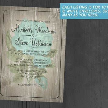 Aqua Rustic Floral Wedding Invitations | Invites | Invitation Cards