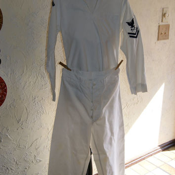 Vintage 1959 United States Navy Crackerjack White With Black Trim Uniform Including Hat Shirt And Pants