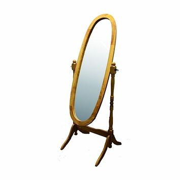 Classic Oval Cheval Floor Mirror with Natural Wood Finish Frame