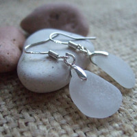 White Scottish sea glass and sterling silver earrings, bridesmaid bridal jewelry, white sea glass earrings, pure white earrings, purist gift