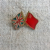 Union flag USSR flag Vintage enamel brooch Lapel pin badge Union Jack England flag Soviet Union flags Patriotic pins Memorial day Gift idea