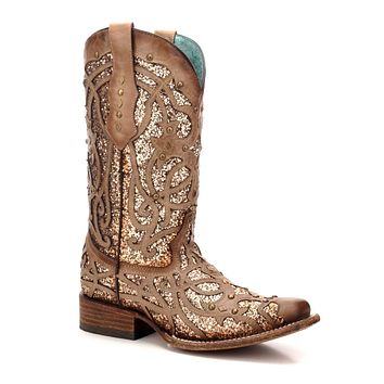 Corral Orix Glitter Inlay & Studs Square Toe Boots