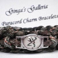 CUSTOM Brown Camo Browning Buck Cobra Paracord Bracelet with Image Buc