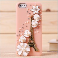 lovely retro flower pearl case for iphone5-pink