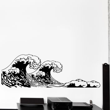 Vinyl Wall Decal Walve Japan Japanese Style Of Sea Ocean Big Cozy Home Decor Unique Gift z4444