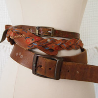 Lot of 3 70's Leather Belts